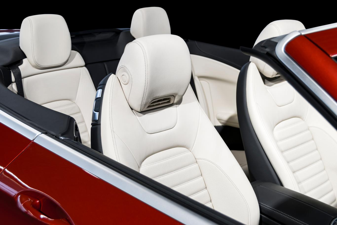 Comfortable white leather seats