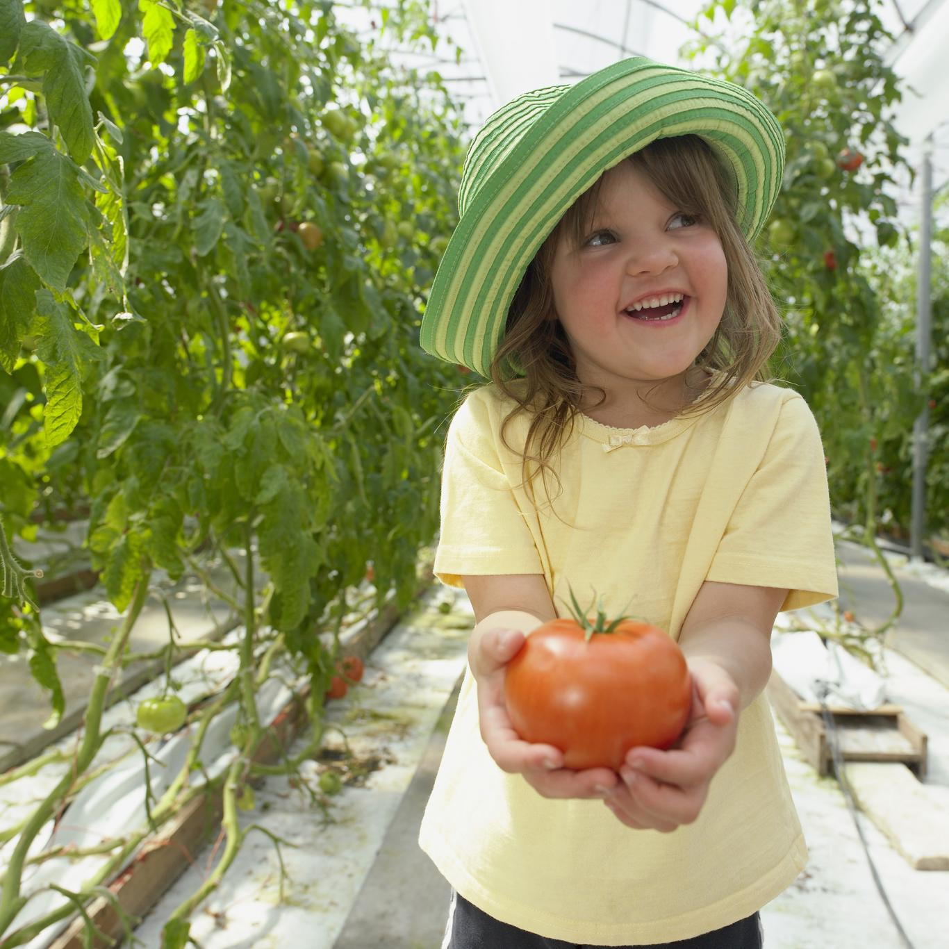 A little girl holding a tomato