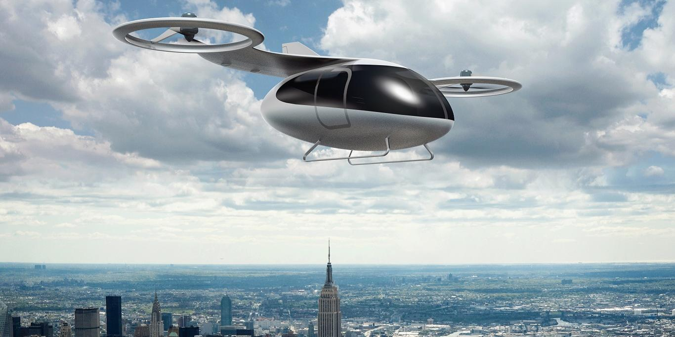 Concept of a passenger drone flying above the New York