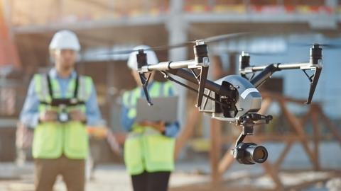 Drone on Construction Site Solvay