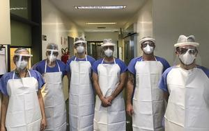 Disposable gowns, protective goggles and masks