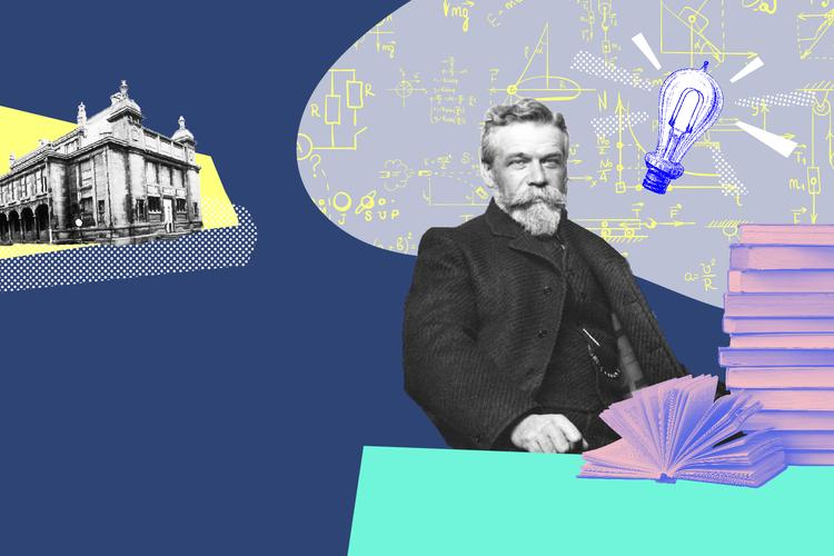 ernest-solvay-in-front-of-a-scientist-background